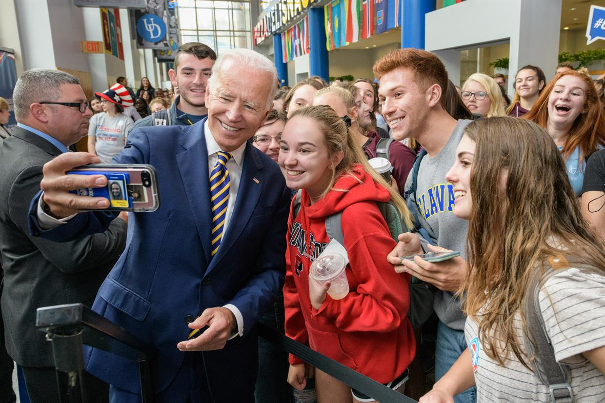​Vice President Biden with students at the Make It Count National Voter Registration Day rally.