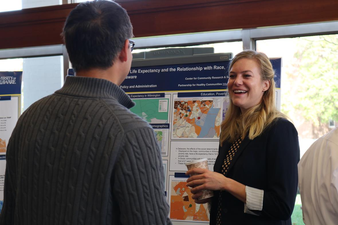 CCRS student presenting at UD's annual GIS day