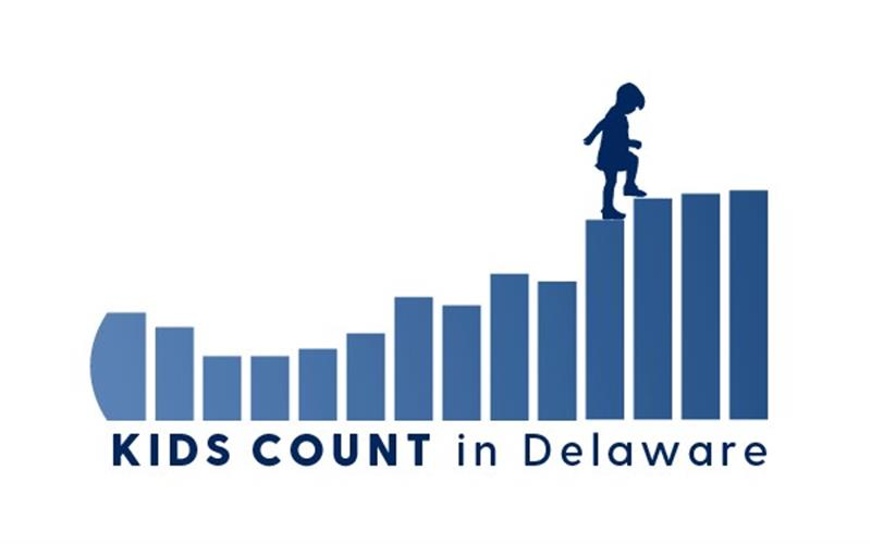 KIDS COUNT in Delaware logo- bar chart of state of Delaware outline tilted on side with child siloughette stepping up from one bar to the next