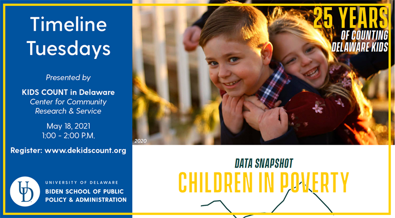 Timeline Tuesday Sata Snapshot: Children in Poverty with Image of a child hugging her brother