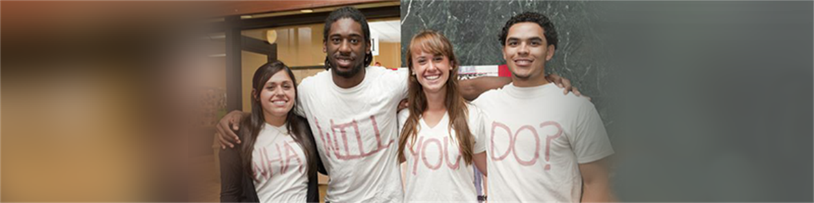 Four students pose in shirts that read What Will You Do?