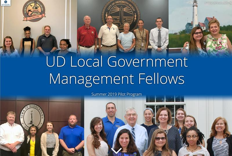 Local Government Management Fellows pose in groups.