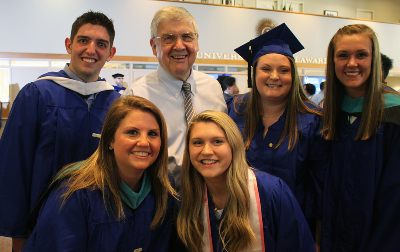 Dr. Jerome Lewis, director of IPA, poses with graduates of the class of 2018: Josh Berkowitz, Emma Odren, Kelly Perillo, Jules Emory, and Sophia Vassar at convocation.