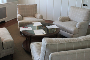 A sitting room used in mediation training at the Buena Vista Conference Center in New Castle, Delaware