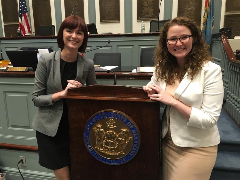 As part of her internship as a legislative researcher in UD's Office of Government Relations, Lexi West (MPA '07) assisted in drafting legislation for use by the House Majority Caucus of the Delaware General Assembly.