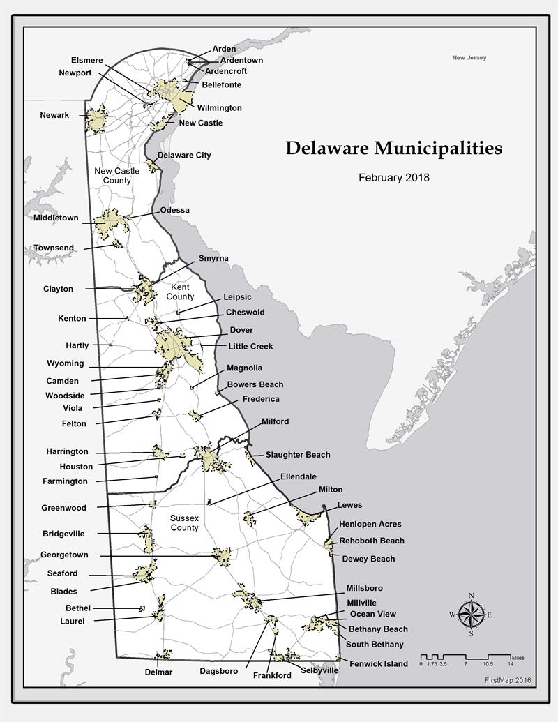 A detailed map with a key included that displays every municipality on a map of Delaware dated February 2018