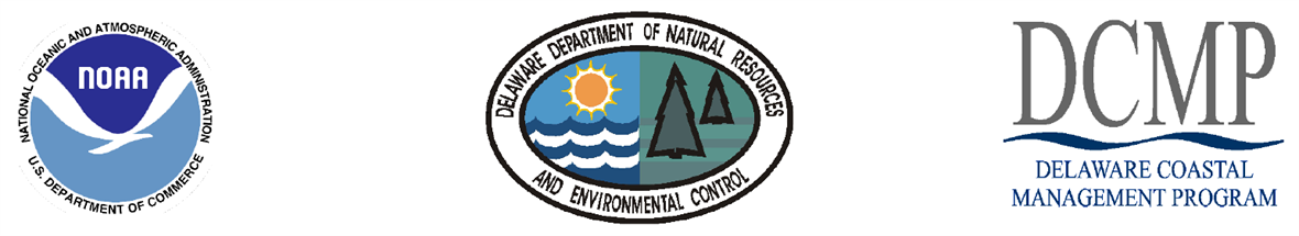 Logos for the National Oceanic and Atmospheric Administration (NOAA) the Delaware Department of Natural Resources and Environmental Control (DNREC) and the Delaware Coastal Management Program (DCMP)