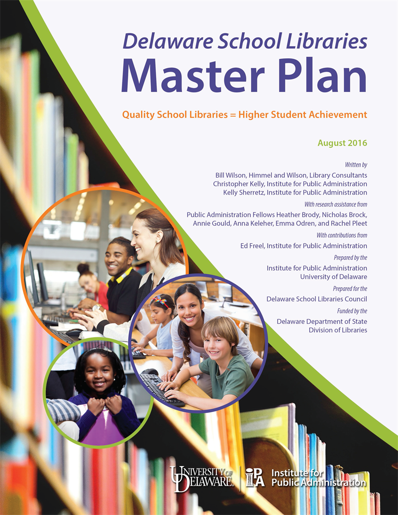 Cover of the Delaware School Libraries Master Plan report by the Institute for Public Administration