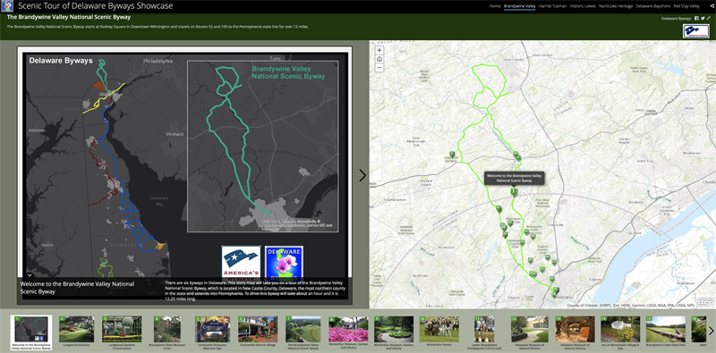 The Scenic Tour of the Delaware Byways GIS Story Map Showcase features several ways for users to interact with and learn from the map.