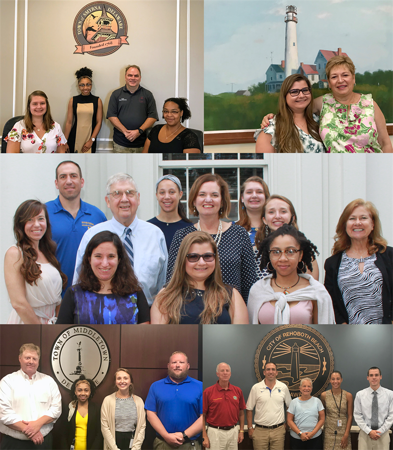 A collage of the seven inagural fellows with their supervisors.