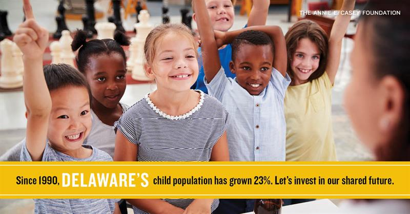 Since 1990, Delaware's child population has grown 23%. Let's invest in our shared future.