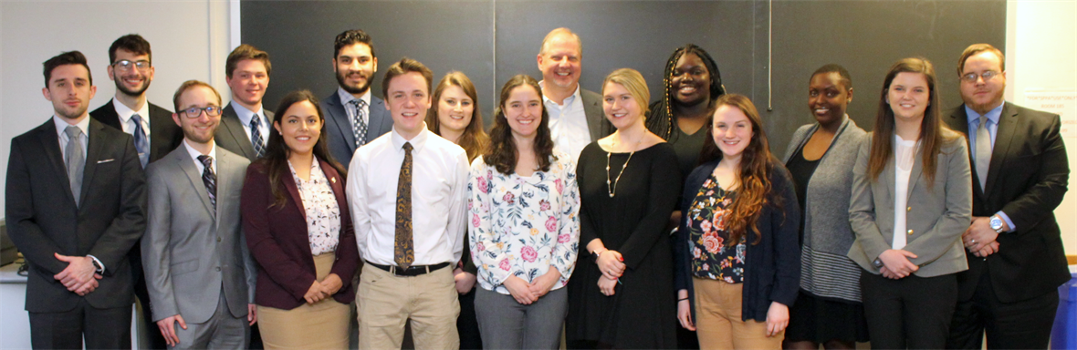 The Legislative Fellows meet with Dean Pelesko at their orientation.