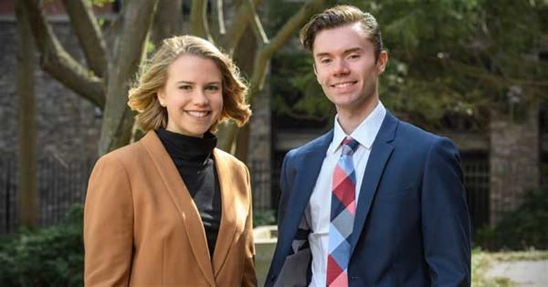 Graduating seniors Laura K. Donahue and Zachary A. Sexton at the University of Delaware