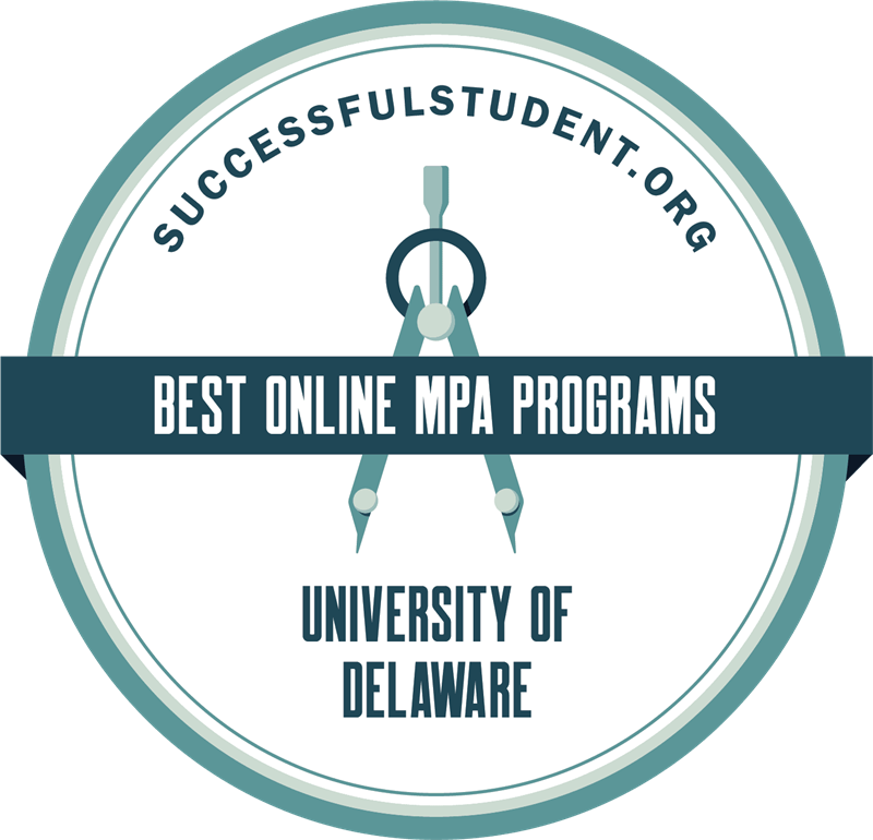 Successful Student dot org best online MPA programs seal for University of Delaware.